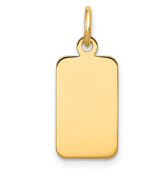 Quality Gold 14k Engravable Rectangular Disc