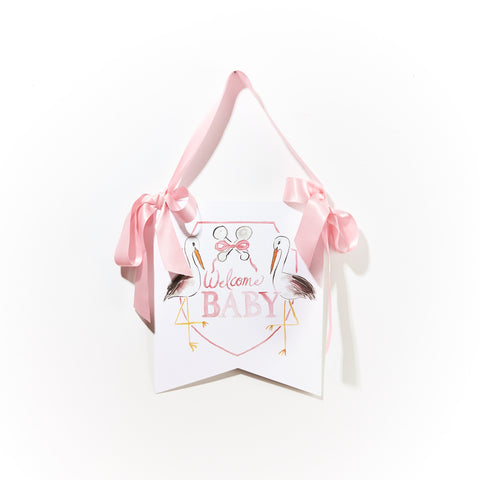 "Over the Moon ""Welcome Baby"" Stork Hanger"