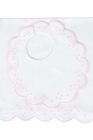 Proper Peony Bib and Burp Set Pink Scallop Dots, Due After 1/15/21