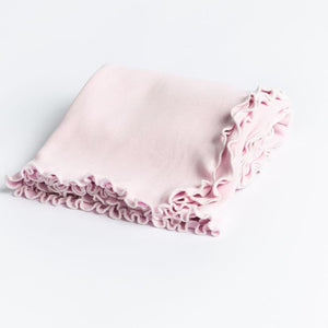 A Soft Idea Pink Lettuce Leaf Receiving Blanket w/ Ribbon Tie