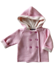 A Soft Idea, Cotton Double Breasted, Double Faced Seed Stitched Hoodie Pink/ Cream
