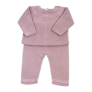 Cuclie Baby Fair Isle Knit Pant Set Dusty Rose
