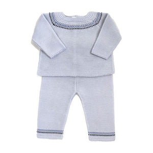 Cuclie Baby Fair Isle Knit Pant Set Light Gray