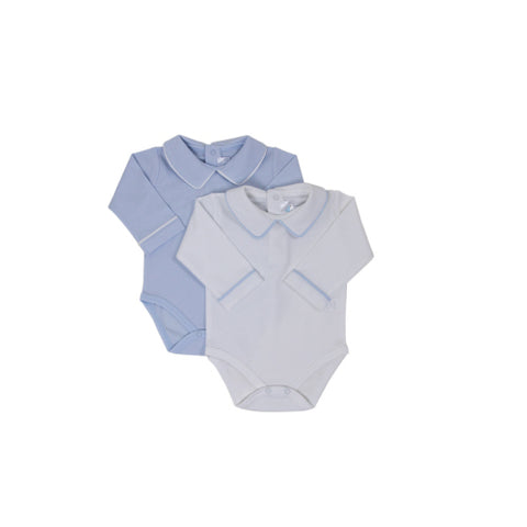 Cuclie Baby Pointed Collar Long Sleeve Onesie Blue