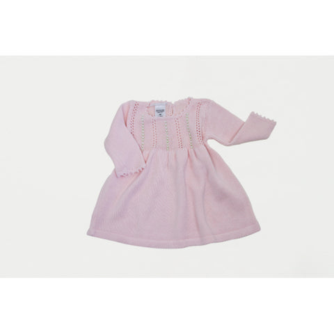 Cuclie Baby Pink Long Sleeve Rosebud Dress