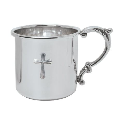 Salisbury Sterling Scroll Handle Baby Cup w/Cross