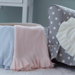 A Soft Idea Cashmere-Like Acrylic Jersey Knit Ruffle Blanket