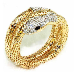 Punk Rhinestone Curved Snake Bangle