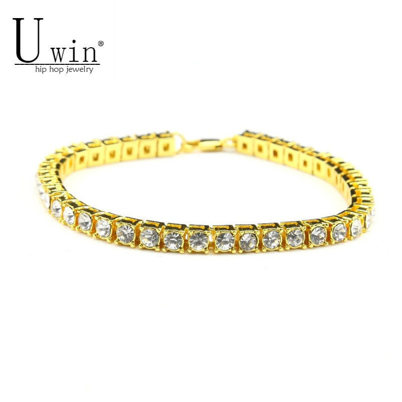 Silver/Gold Iced Out Rhinestones Crystal Chain Bracelet
