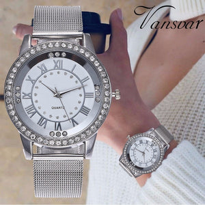 Rhinestone Fashion Watch Silver & Rose Gold Mesh Wristwatch