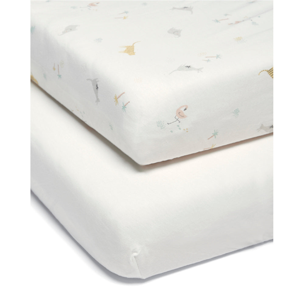 Mamas and Papas Wildly Adventures Cotbed Fitted Sheet (Pack of 2)