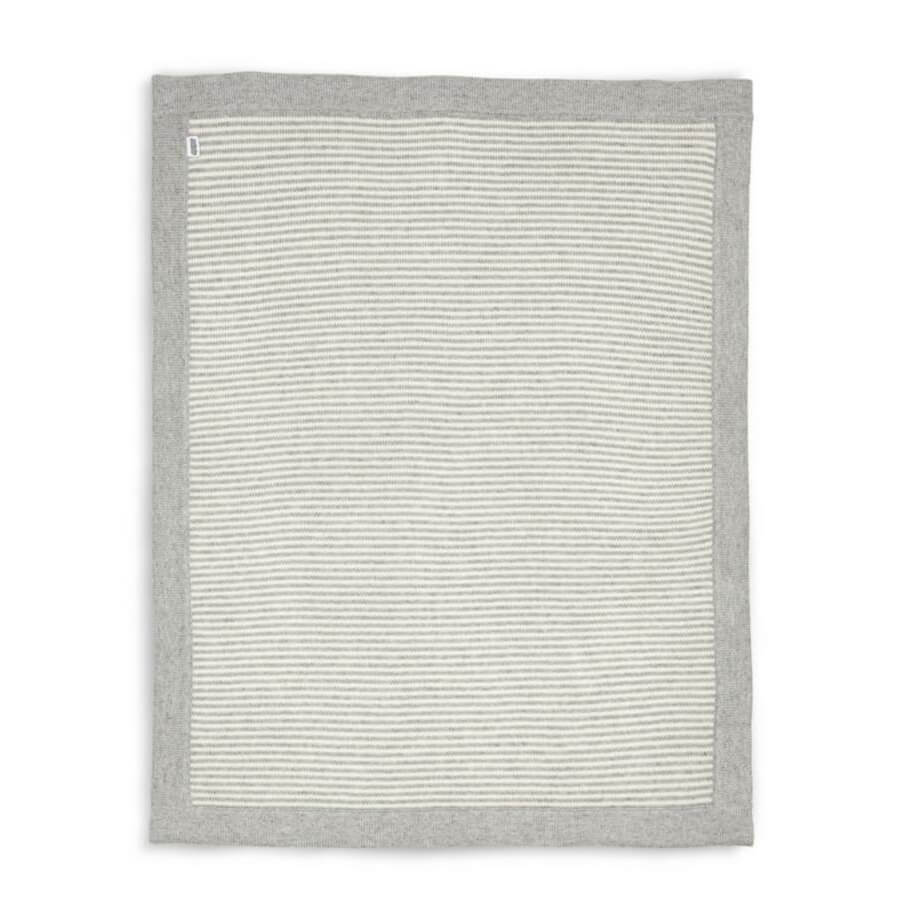 Mamas and Papas Grey & White Stripe Knitted Blanket