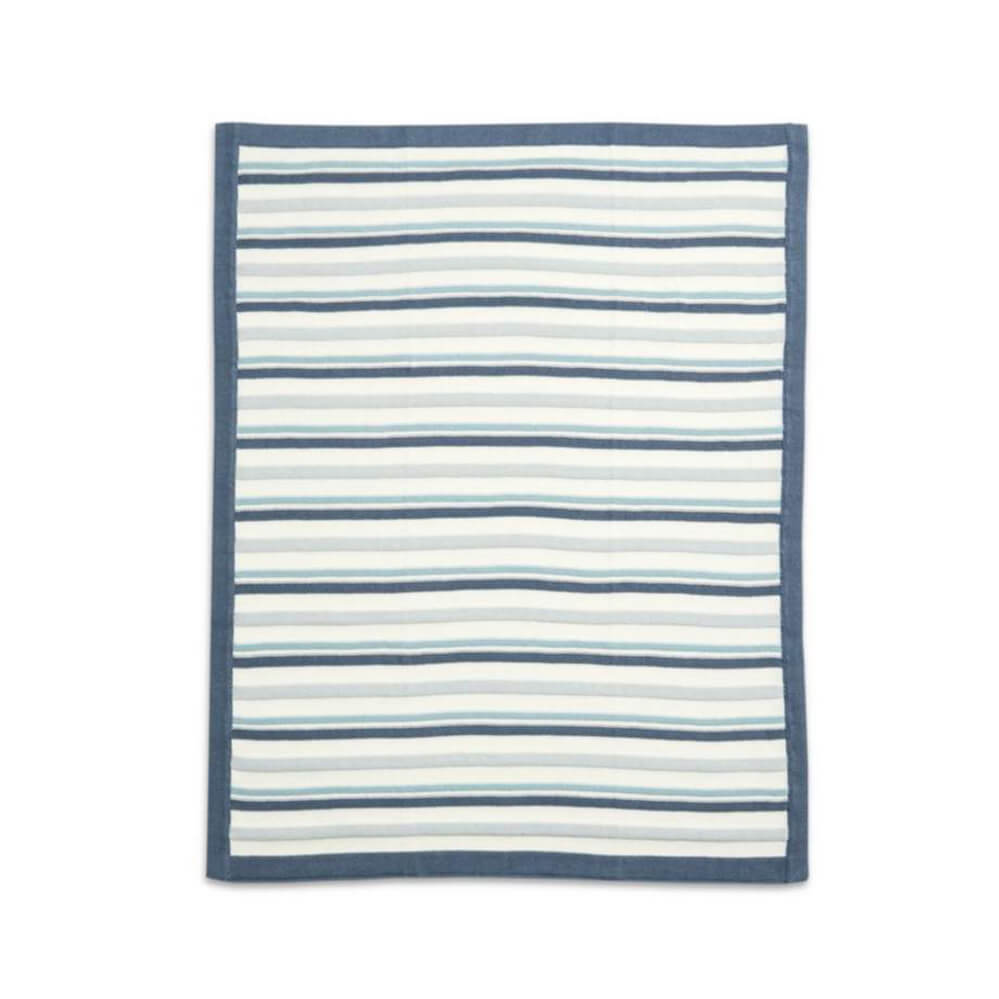 Mamas and Papas Blue Stripe Knitted Blanket