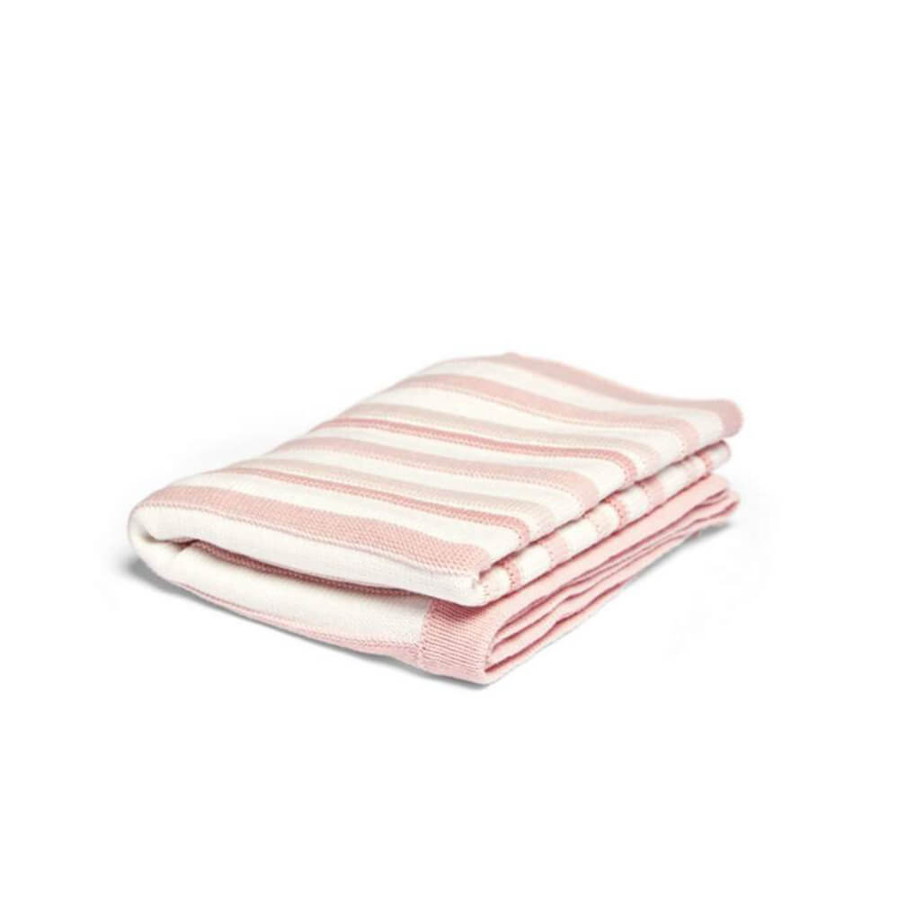 Mamas and Papas Pink Stripe Knitted Blanket