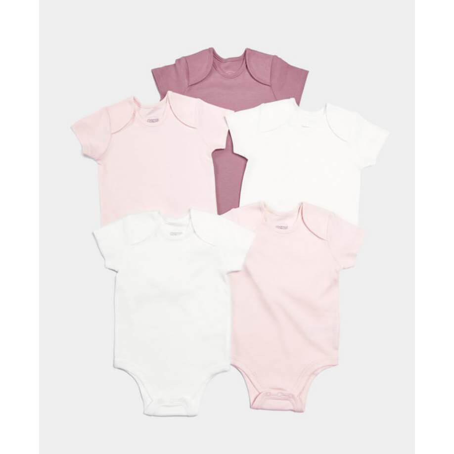 Mamas and Papas Pink Short Sleeve Bodysuits 5pack