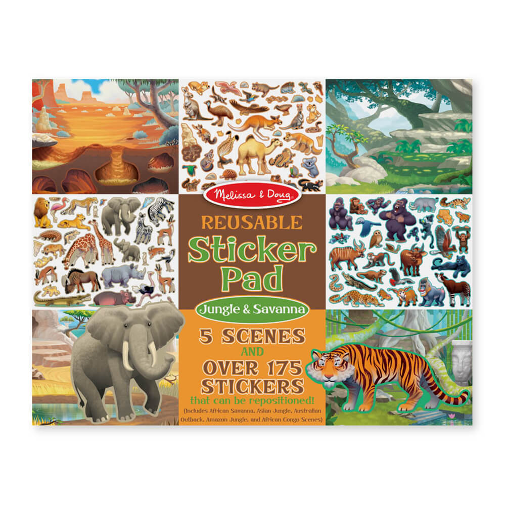 Melissa and Doug Reusable Sticker Pad Jungle & Savanna