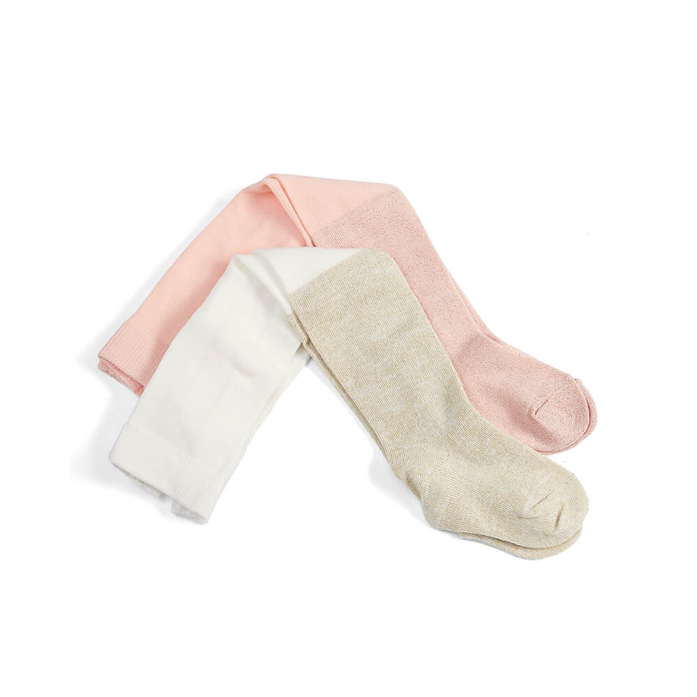 Mamas and Papas Pink & Cream Tights (2 pack)