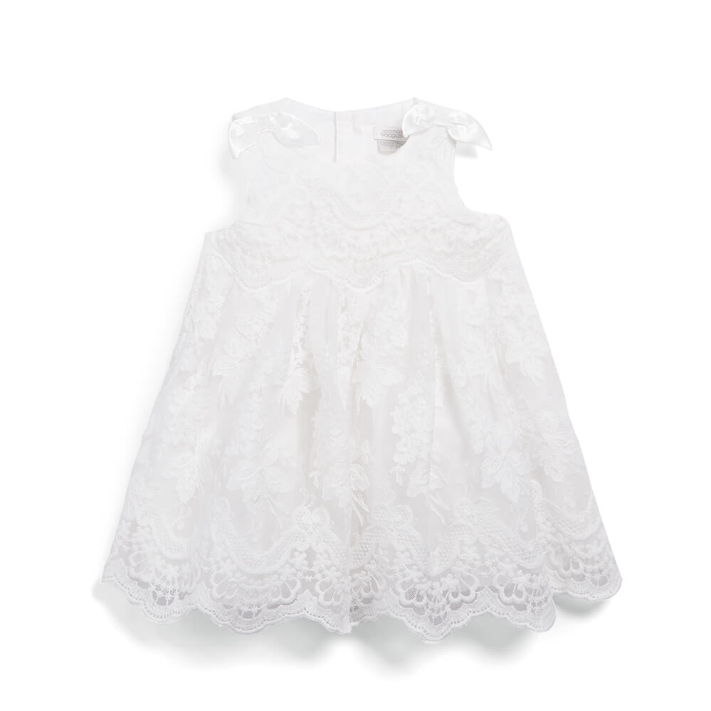 Mamas and Papas Embroidered Scallop Hem Dress