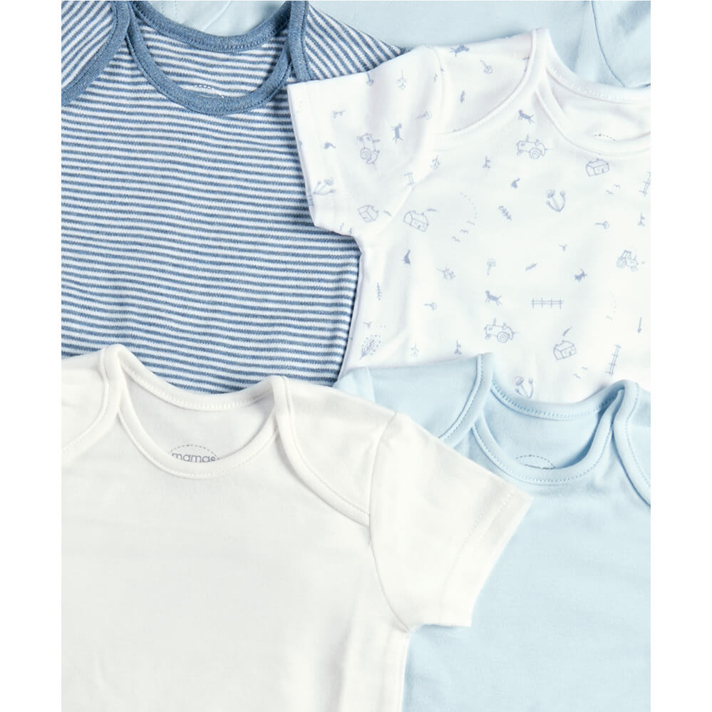 Mamas and Papas Blue Farm Short Sleeve Bodysuits - 5 Pack