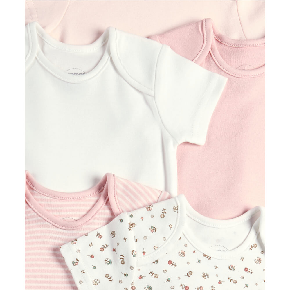 Mamas and Papas Pink Sweet Short Sleeve Bodysuits - 5 Pack