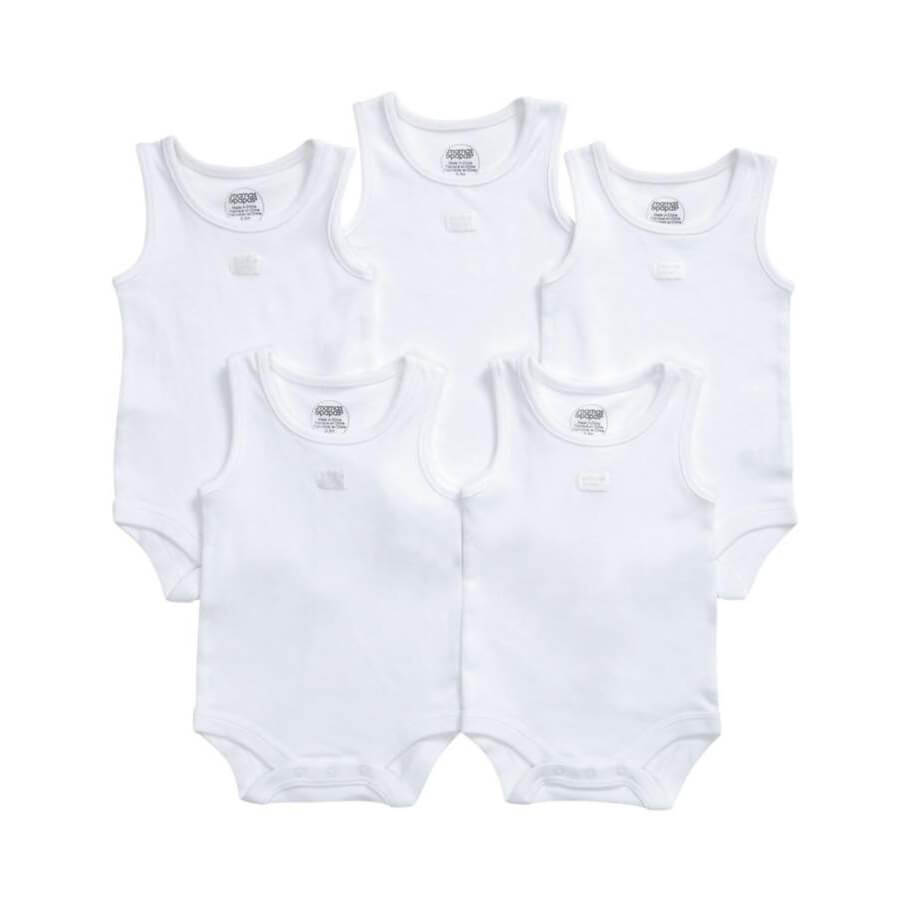 Mamas and Papas White Singlet Bodysuits - 5pack