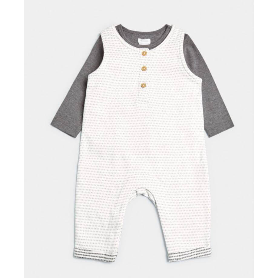 Mamas and Papas Striped Jersey Dungarees & T-Shirt - 2 Piece Set
