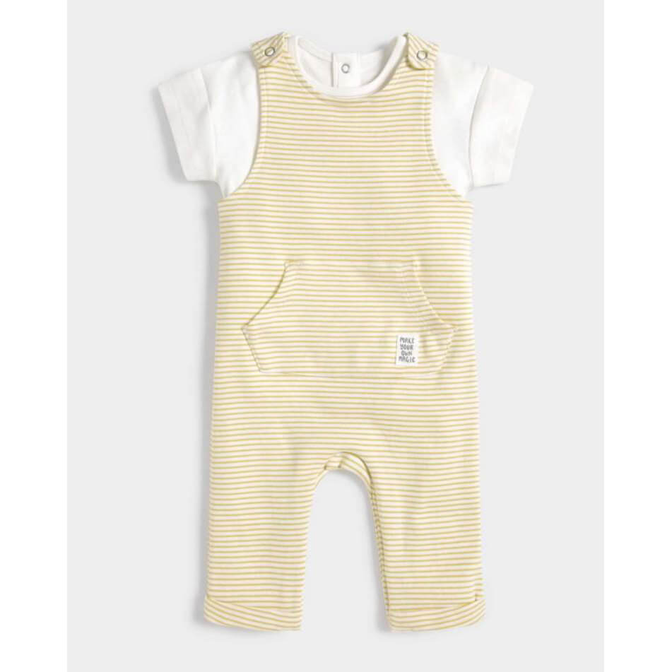 Mamas and Papas Striped Dungarees & T-Shirt - 2 Piece Set