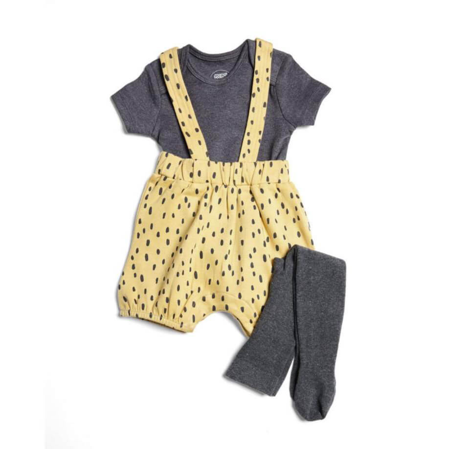 Mamas and Papas Shortie Spot Dungarees , Bodysuit & Tights - 3 Piece Set