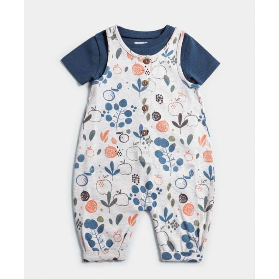 Mamas and Papas Jersey Dungarees & T-Shirt - 2 Piece Set