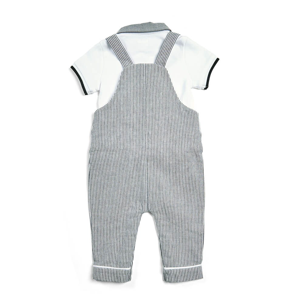 Mamas and Papas Stripe Dungaree with Polo Set