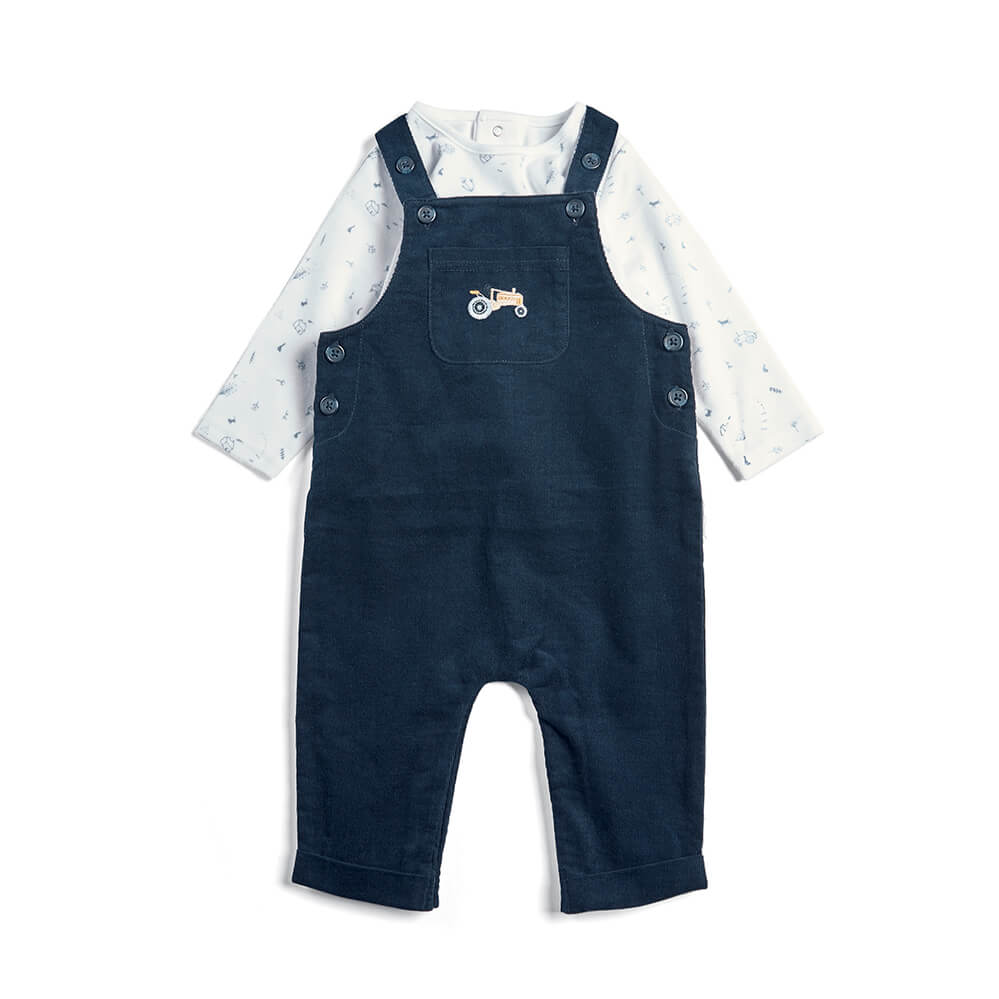Mamas and Papas Corded Dungaree & Tee  - 2 Piece Set