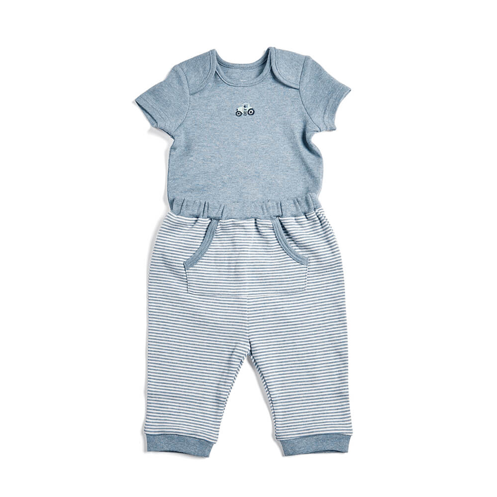 Mamas and Papas Blue Bodysuit & Jogger Pants - 2 Piece Set