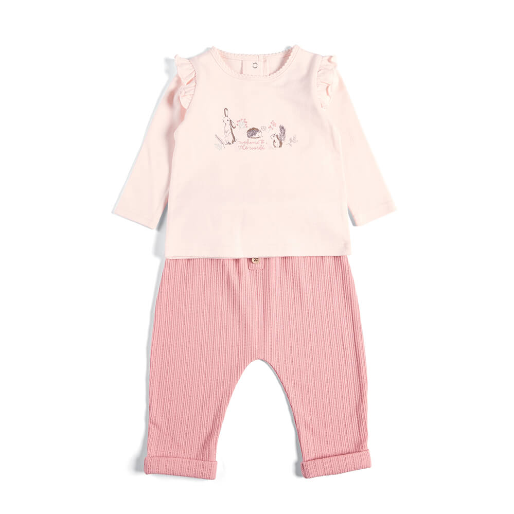 Mamas and Papas Bunny Top & Ribbed Pants - 2 Piece Set