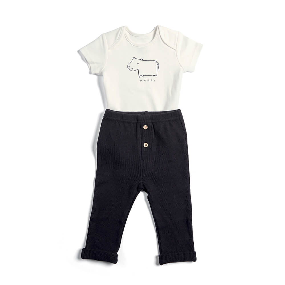 Mamas and Papas Hippo Bodysuit & Leggings - 2 Piece Set