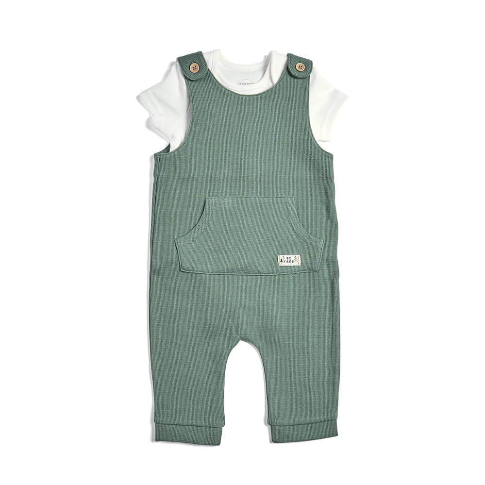 Mamas and Papas Textured Dungarees with Bodysuit - 2 Piece Set