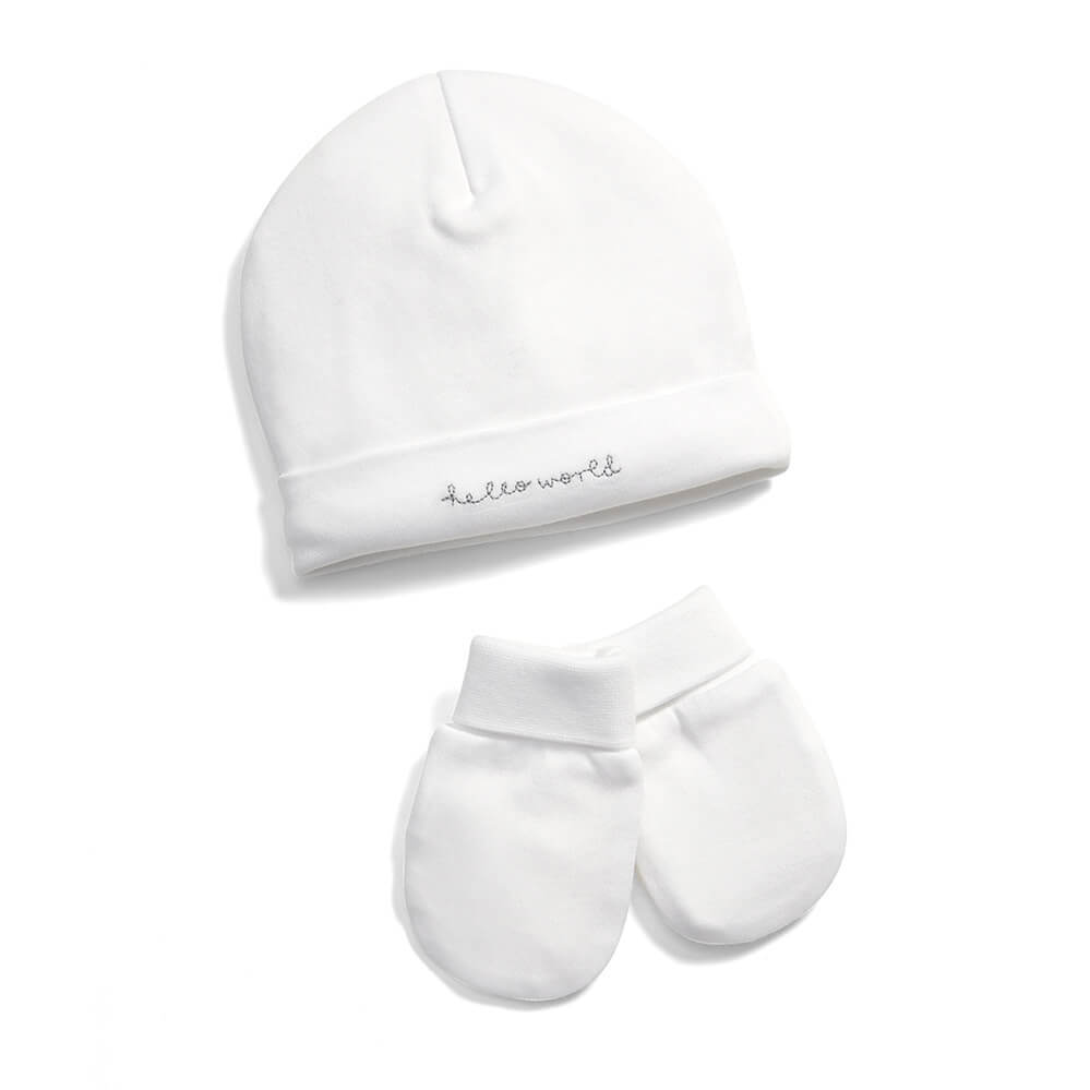 Mamas and Papas Hello World Hat & Mittens Set