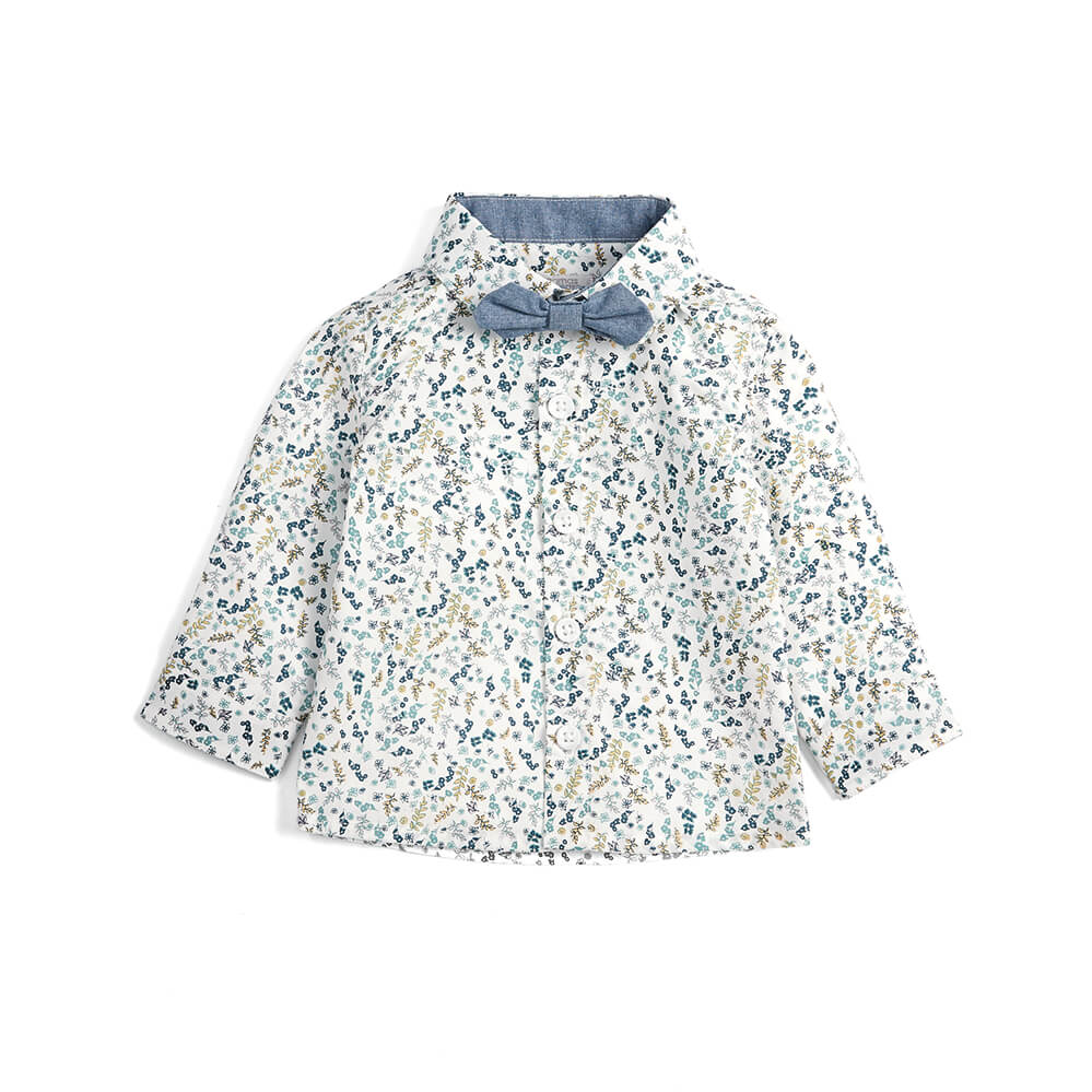 Mamas and Papas Floral Shirt, Bow Tie & Vest 3PC Set