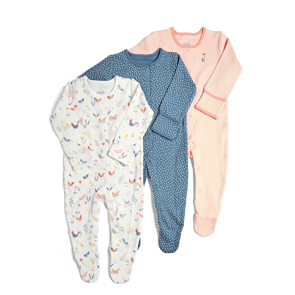 Mamas and Papas Pink Farm All in Ones 3 Pack