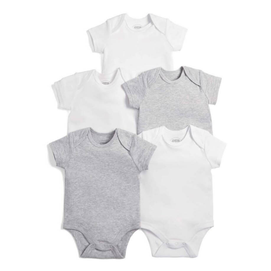 Mamas and Papas Grey Short Sleeve Bodysuits 5pack