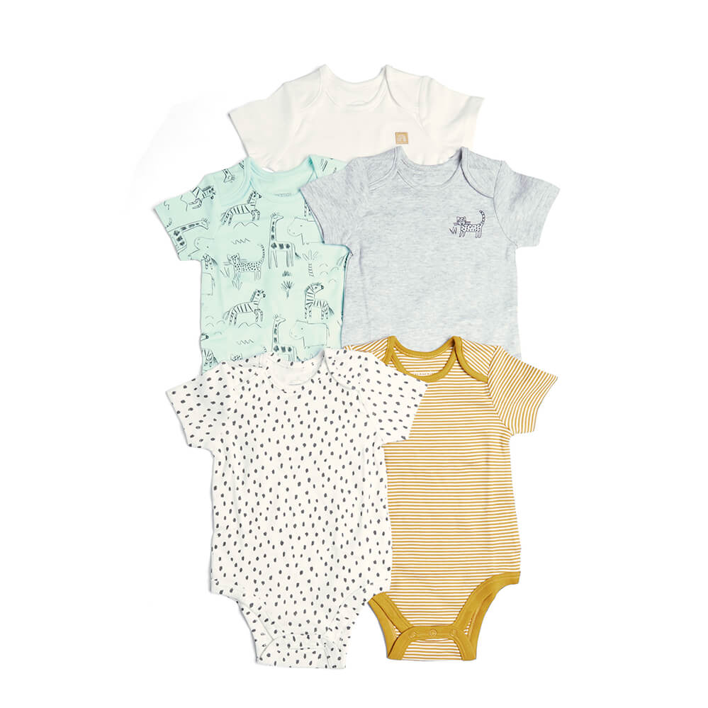 Mamas and Papas Mixed Animals Short Sleeve Bodysuits - 5 Pack