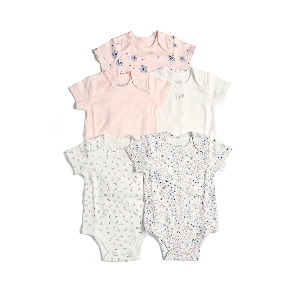 Mamas and Papas Pink Floral Short Sleeve Bodysuits - 5 Pack