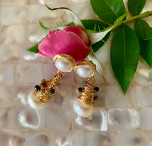 i me - Pearl and Toulamarine  Earring