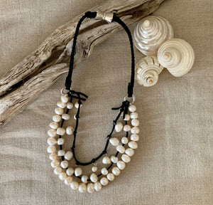 i me Pearl on Black Leather Necklace