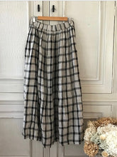 Load image into Gallery viewer, Layla Linen Maxi Skirt - Black and Grey Check -Kloth