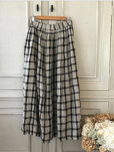 Layla Linen Maxi Skirt - Black and Grey Check -Kloth