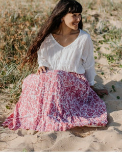 Layla Linen Skirt Baroque Rose Flower - Maxi and Midi Length