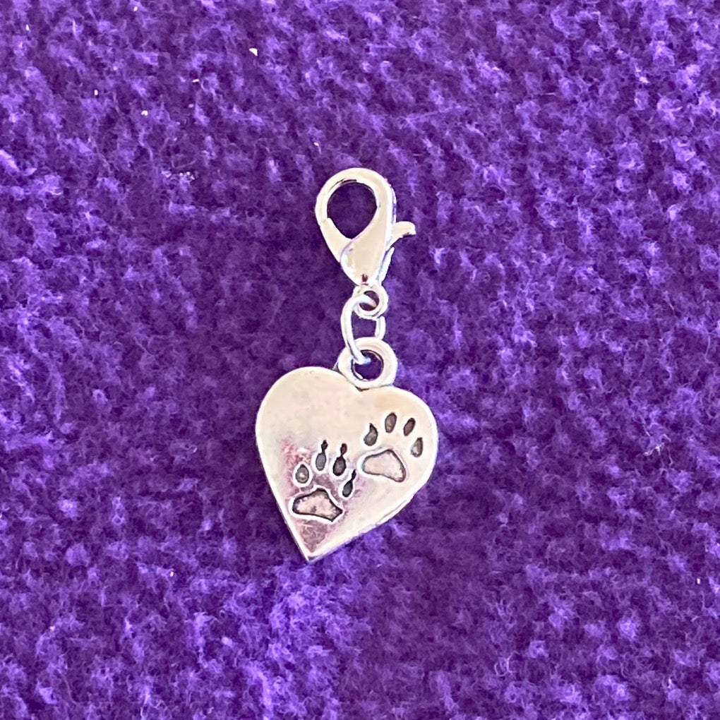 Double Paw Print in Heart Charm with Clasp