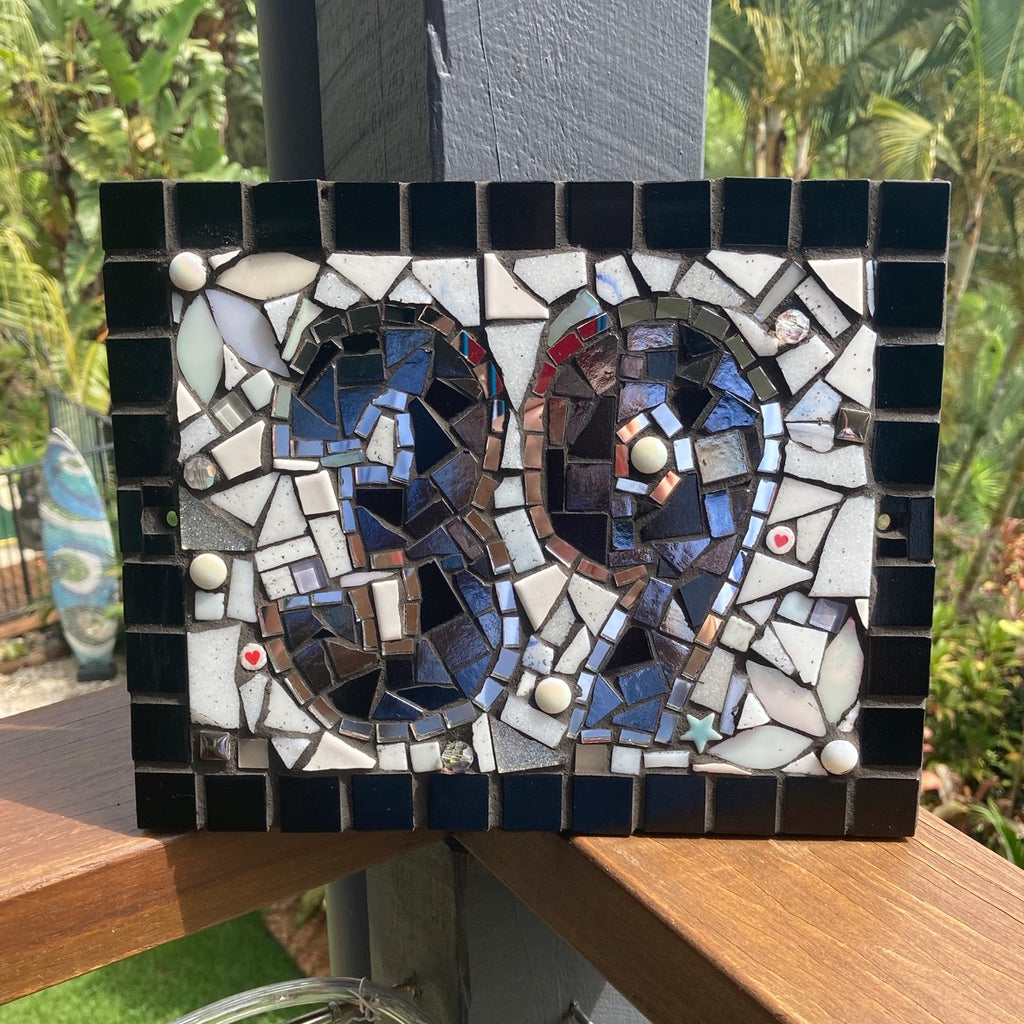 Custom Made Mosaic House Number,  2 Digits - 25 x 20cm RECTANGLE