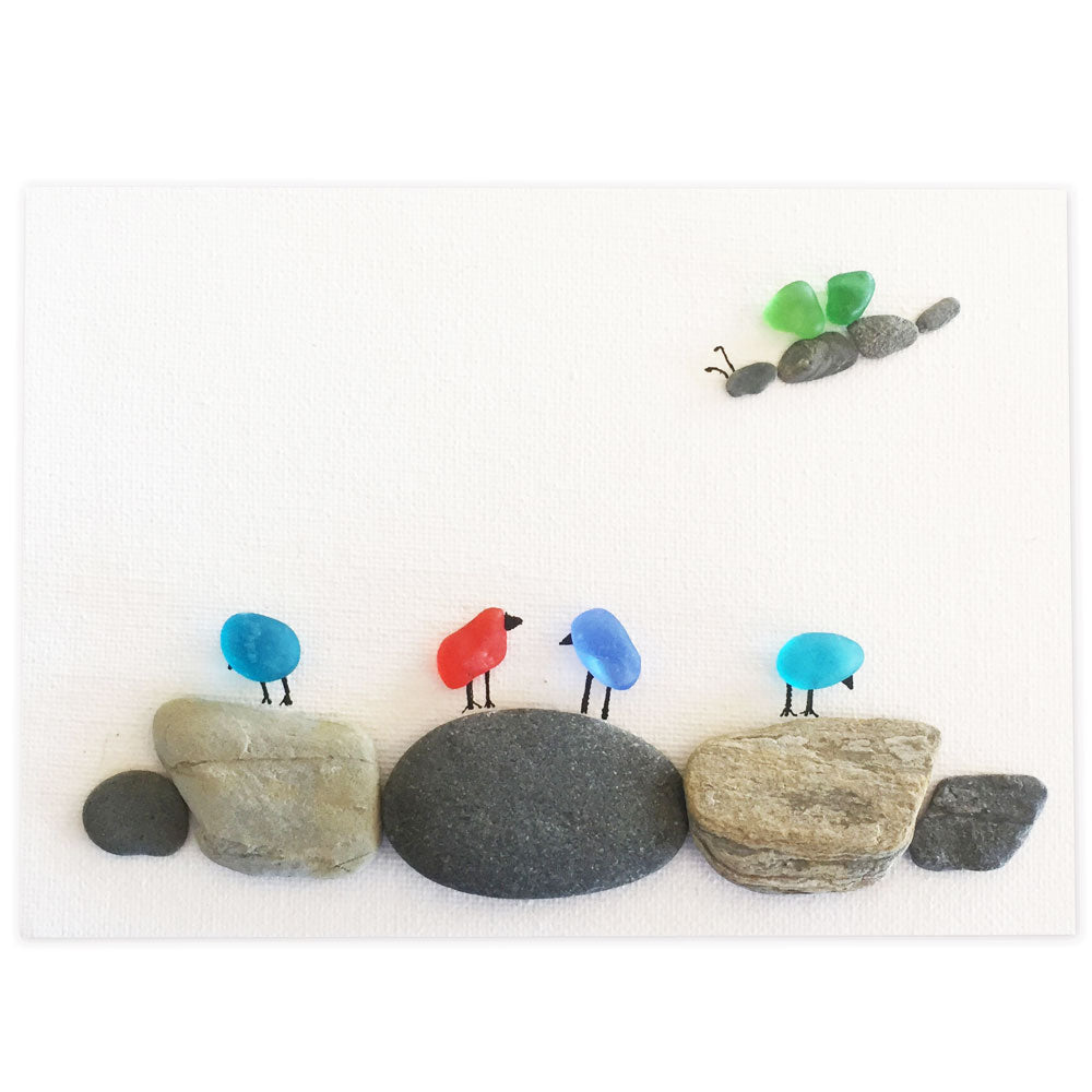 "5"" x 7"" Pebble Art and Sea Glass Canvas, 4 Birds on 5 Rocks with Green Butterfly"