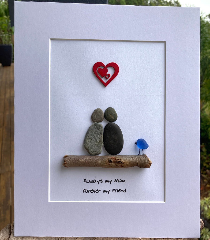 "Unframed Pebble Art Picture, ""Always my Mum, Forever my Friend"""
